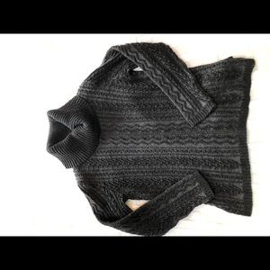 Cable knit sweater, grey turtle neck